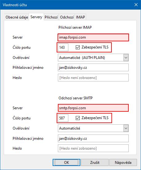 Opera Mail - zabezpečené připojení