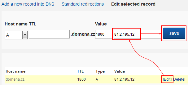 How to cancel domain redirect via DNS - FORPSI