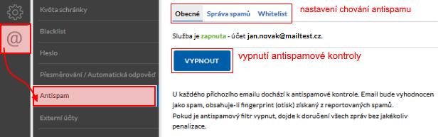 Nastaveni antispamu