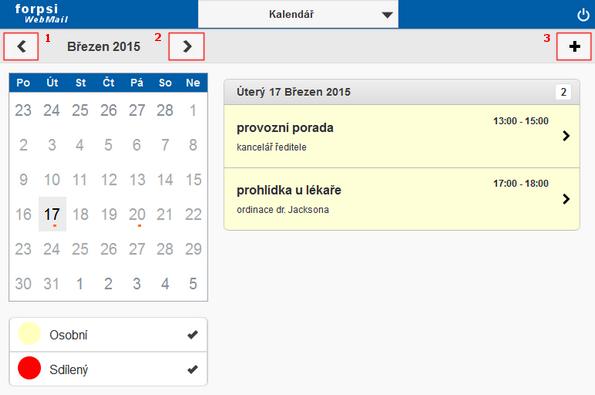 zobrazeni kalendare na tabletu